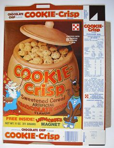 Cookie-Crisp Cereal....this was the bomb at our house.  Vanilla and chocholate crisp.