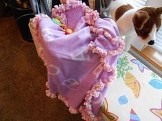 Baby Fleece ABC Lilac Receiving Blankets with Pretty Crochet edging by kams-store.com by kamsstorecom on Etsy