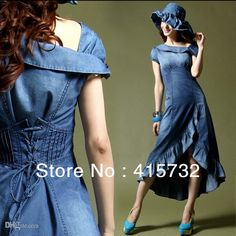 Wholesale cheap dresses online, vintage dresses - Find best free shipping 2015 new summer thin jeans fashion high quality plus size denim dress For women vintage asymmetric jeans ruffles dresses blue at discount prices from Chinese casual dresses supplier on DHgate.com.