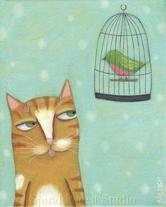 Cat Art Print  8 x 10  Orange Tabby Cat Art  by spiralforeststudio, $20.00