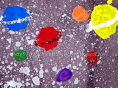 Moon and Planets Paintings from a preschooler