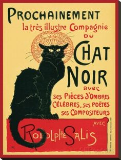 Chat Noir Stretched Canvas Print by Théophile Alexandre Steinlen at AllPosters.com