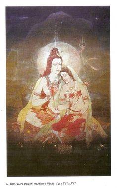 Yhara Parbati Poster By Ratan Acharya Shiva Parvati Images, Shiva Shakti, Indian Gods, Indian Art, Mysore Painting, Shiva Tattoo Design, Lord Shiva Hd Wallpaper, Lord Shiva Family, Lord Shiva Painting