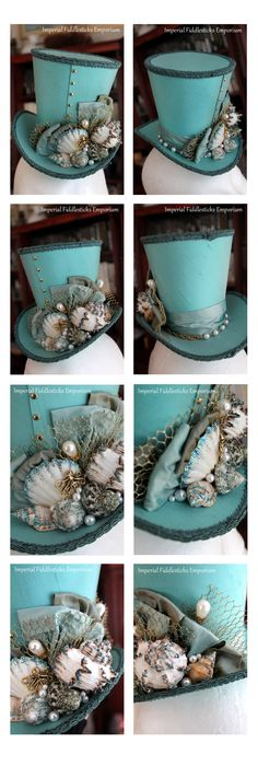 Sombrero celeste y negro con detalles de caracoles y eatrella de mar