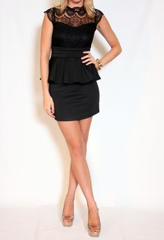 Peplum Dress with Lace Top More Colors Available