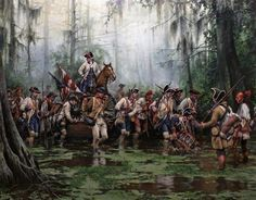 """Bernardo de Gálvez, the guy that Galveston, Texas, is named for. His efforts were vitally important during the American Revolution Painting is """"La Marcha de Galvez, guerra de independencia americana"""" by Augusto Ferrer-Dalmau American Revolutionary War, American War, Early American, American History, Historical Art, Historical Pictures, Military Art, Military History, Seven Years' War"""