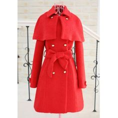 Detachable Collar Bow Tie Double-Breasted Cape Style Coat, RED, L in Jackets & Coats   DressLily.com