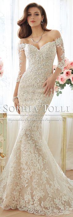 The Sophia Tolli Spring 2016 Wedding Dress Collection - Style No. Y11632 - Riona #laceweddingdress @moncheribridals