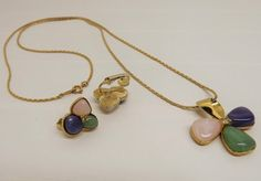 Vintage 1970s Avon Flower Pink Blue Green Cabochon Pendant Necklace Matching Clip On Earrings Signed Avon