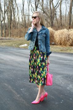 Neon Floral: vintage distressed denim jacket, navy blouse, floral midi skirt, lipstick pink patent pumps, hot pink Kate Spade bag