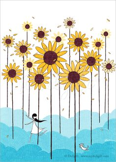 Wonderland, by Rheea Zhang. Art print available on Etsy. #illustration #drawing #art #sweet #dog #flowers #sunflower #clouds