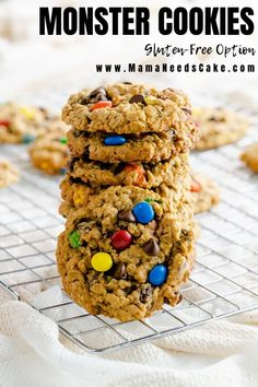 This Monster Cookies recipe has been handed down many generations in my family. It was a favorite in my childhood during the Holidays and now a favorite of my own children as well. This cookie is easy to make and delicious to eat and makes a large batch so you will have plenty to share.  #monstercookies #holidaycookies #christmascookies #cookieexchange #oatmealcookie #cookierecipes #familyrecipes #glutenfreecookies