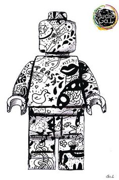 lego design - change the tats on the Lego tattoo though. Stuff to represent my boys. Deco Lego, Lego Tattoo, 7th Grade Art, Lego Man, Tattoo Project, Lego Design, Custom Lego, Geek Art, Coloring Pages For Kids