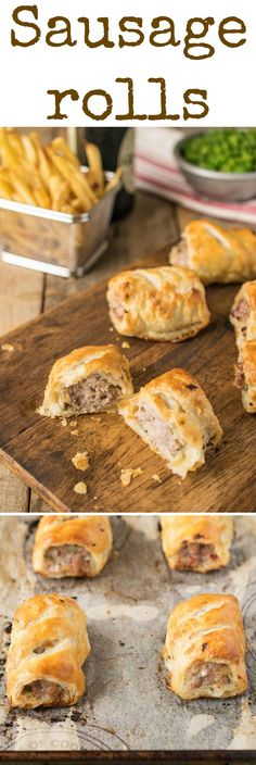Homemade sausage rolls. Light and flaky pastry gives way to a delicious meaty pork filling. Homemade sausage rolls are a British dietary staple and convenience food that are usually enjoyed as a snack, in miniature form for buffet and party food, or served as a meal with fresh peas and chips.