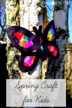 So pretty! This tissue paper butterfly is a great craft project for spring. {Playdough to Plato}