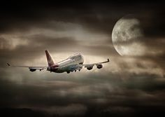 Virgin Atlantic Boeing 747 on it's way Jumbo Jet, Virgin Atlantic, Air Fighter, Sun And Stars, Good Night Moon, Boeing 747, Background Pictures, Night Skies, Beautiful World