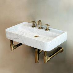 Bath Fixtures, Kitchen Fixtures, Carrara, Small Toilet Room, Small Bathroom, Master Bathroom, Bathroom Ideas, Stone Bathroom Sink, Bathroom Vanities