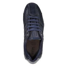 251fca9cbc8 Buy Geox Leather and Suede Snake Trainers, Navy Online at johnlewis.com  Navy Online