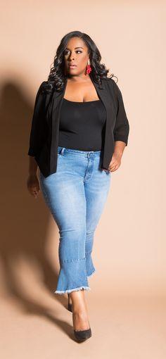 0188bf60c1c98 Plus Size Kesha Curvy Fit Cropped Flare Frayed Ruffle Hem Jeans
