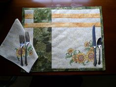 Sunflower Matching Placemats and Napkins, Original design, green and gold to grace your summer table