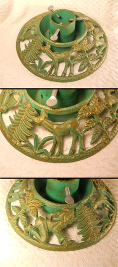 vintage christmas tree stand cast iron w deer elves and various tree branches