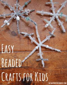 Snowflake Crafts - Easy Beaded Snowflakes - The Inspired Treehouse Fine motor activities for kids can be easy and fun! This winter themed beaded snowflake will be as unique and beautiful as the child who creates it! Fine Motor Activities For Kids, Eyfs Activities, Fun Winter Activities, Christmas Activities For Kids, Art Therapy Activities, Preschool Christmas, Preschool Crafts, Frozen Activities, Preschool Winter