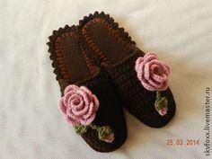 """Обувь ручной работы. Ярмарка Мастеров - ручная работа """"Розы в шоколаде"""" тапочки (подошва валяная). Handmade."""