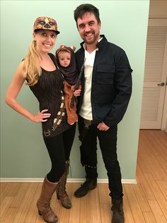 Family Star Wars costume: Han, Chewie, and baby Ewok.
