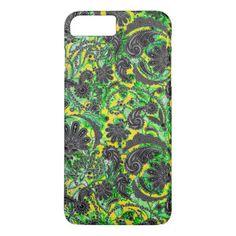 Cute black yellow paisley patterns iPhone 7 plus case