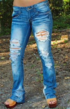 holes in boot cut jeans