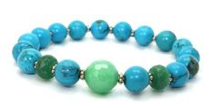 Beautiful Turquoise, Faceted Jade, Silver, Faceted Green Agate Stretch Bangle Bracelet | AyaDesigns - Jewelry on ArtFire