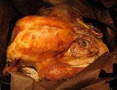 Frozen turkey in a bag.