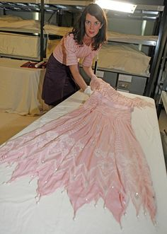 Exclusive view: The formal dinner dress by Zandra Rhodes worn by the late Princess of Wales, Diana for state visit to Japan is now in the care of curator, Deirdre Murphy at Kensington Palace