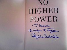 Phyllis Schlafly signature on her book No Higher Power