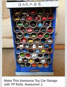 Stop throwing away empty toilet paper rolls. Here's 11 ways to reuse them around the house DIY: toy car garage, toilet paper roll craft, boys toy room organization. Diy For Kids, Crafts For Kids, Car Crafts, Toddler Crafts, Toy Car Storage, Garage Storage, Kayak Storage, Toilet Paper Roll Crafts, Toilet Paper Holder Uses