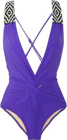 Mara HOffman Beaded Plunge Front Swimsuit   dressmesweetiedarling