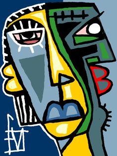 Abstract Faces, Abstract Art, Pop Art, Art Visage, Mid Century Art, Art Original, Outsider Art, Oeuvre D'art, Modern Art