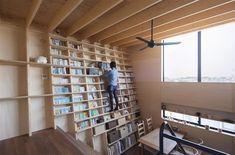 A Japanese Home Designed Around a Climbable Earthquake-Proof Bookshelf | Colossal