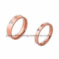 anillo de estilo simple con cristal en acero rosado inoxidable para amantes…