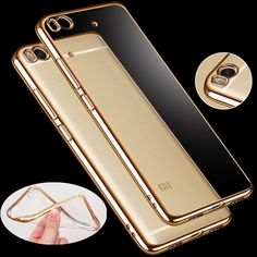 For Xiaomi Redmi Note 4X 3 Pro 3S 2 4 Mi5 Mi5s Plus 4A 3X Electroplated gold frame Transparent TPU Phone Case Soft Cover bags