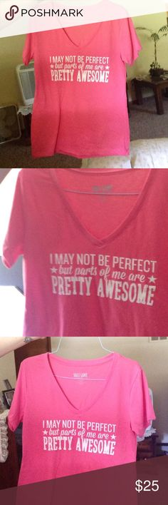 "I May Not Be Perfect Fitted V Neck Brand new, custom made. Pink with white lettering. 60% cotton and 40% polyester. Please refer to size chart. ""I may not be perfect but parts of me are pretty awesome"" Salt Lake Clothing Tops Tees - Short Sleeve"