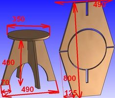 Mesa en terciado estructural. Collapsible Stool, Wooden Stools, Folding Furniture, Plywood Furniture, Garden Furniture, Kids Furniture, Furniture Plans, Furniture Design, Diy Wood Projects