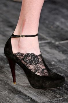 I don't normally repin clothes/shoes... but these Lace + Suede Pumps by nina ricci are beyond fabulous.... just saying.
