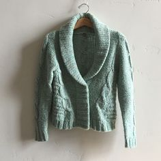 | Anthropologie Wool Blend Cardigan Beautiful thick knit seafoam green cardigan/sweater with snaps from Anthropologie 'One Girl Who'.  Specks of reds, orange and yellow in yarn add fun.  Wool, acrylic and cotton blend.  In excellent condition. Anthropologie Sweaters Cardigans