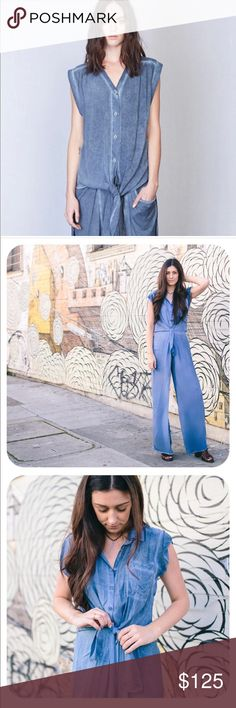 Tina + Jo jumpsuit Worn once! Denim dyed Tina plus Jo tie-waist jumper. Perfect Easter outfit! Not Flynn or free people Tags: free people,  spell and the gypsy collective, stone cold fox, festival, boho chic, Coachella Free People Pants Jumpsuits & Rompers
