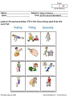 PrimaryLeap.co.uk - Pushing, pulling and squeezing 1 Worksheet