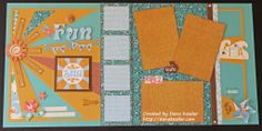 Two Page Summer Beach Scrapbooking Layout using CTMH Surf's Up WOTG and Cricut Artbooking #ctmh #scrapbooking