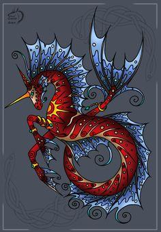 , Natalie Touretsky (Gerie Aren), SciFi Fantasy Art Unicorns And Mermaids, Mermaids And Mermen, Magical Creatures, Fantasy Creatures, Arte Equina, Seahorse Art, Seahorses, Dragons, Creature Drawings