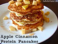 Apple Cinnamon Protein Pancakes | Nut Butter Runner Recipe: 1/3c oats, 1/4c cottage cheese, 6T egg whites, 1 apple