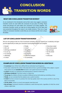 Conclusion Transition Words Academic Essay Writing, Ielts Writing, Paragraph Writing, English Writing Skills, Writing Words, Writing Lessons, Teaching Writing, Argumentative Essay, English Vocabulary Words